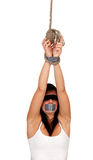 Kidnapped young woman, hostage Royalty Free Stock Photography