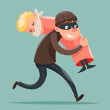 Kidnapper Running Away Hostage Character Icon Cartoon Design Template Vector Illustration Stock Images