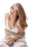 Kidnapping concept. The beautiful blond girl tied with rope - kidnapping concept Royalty Free Stock Photos