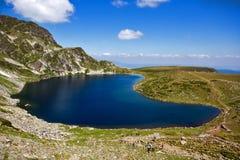 Kidney湖,七个Rila湖, Rila山 图库摄影
