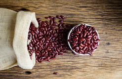 Kidney bean,Red beans in sack Royalty Free Stock Photo