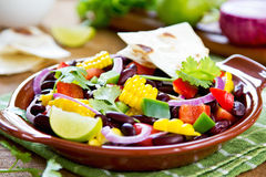 Bean salad with tortilla Royalty Free Stock Image