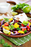 Bean salad with tortilla Royalty Free Stock Photography