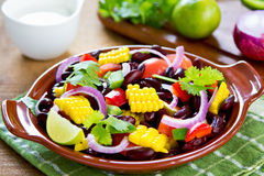 Bean salad with tortilla Royalty Free Stock Images