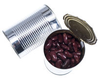 Kidney Beans in a can (on white) Stock Photos