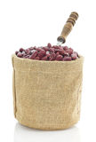 Kidney beans in Sacks fodder on white background Royalty Free Stock Images
