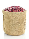 Kidney beans in Sacks fodder on white background Royalty Free Stock Photography