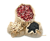 Kidney beans in the sacks Royalty Free Stock Photo