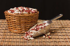 Kidney Beans in a wooden basket Stock Photos