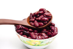 Kidney beans on wooden spoon Royalty Free Stock Photography