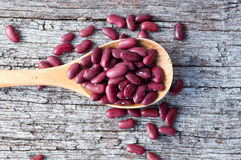Kidney beans in wooden spoon (cropped) Stock Photo