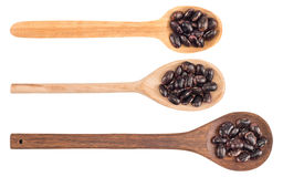 Kidney beans on a wooden spoon isolated on white background Royalty Free Stock Photography