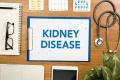 KIDNEY DISEASE. Professional doctor use computer and medical equipment all around, desktop top view Stock Photo