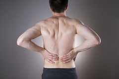 Kidney pain. Man with backache. Pain in the man's body Royalty Free Stock Image