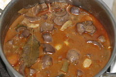 Kidney ragout in pan. Just cooked. Royalty Free Stock Image