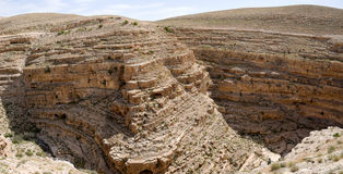 Kidron gorge panorama, Israel. Royalty Free Stock Photo