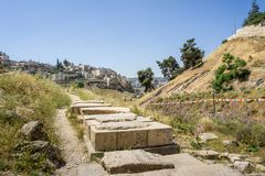 Kidron Valley и деревня Siloam в Иерусалиме, Израиле Стоковое Фото