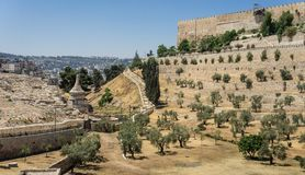 The Kidron Valley in Jerusalem, Israel. The Kidron Valley or King`s Valley, the Tomb of Absalom near the walls of the Old City of Jerusalem, Israel Stock Images