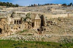 Kidron Valley, Jerusalem. Kidron Valley or Kings Valley, Tomb of Zechariah near the Old City of Jerusalem Stock Photo