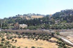 Kidron Valley & Mount of Olives, Jerusalem. The landscape of the Kidron Valley (or Valley of Josaphat or King's Valley) and the Mount of Olives in stock image