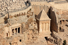 Kidron valley tombs - Israel. Tombs of Absalom, Zechariah and Benei Hezir in the Kidron valley, Jerusalem, Israel Stock Image