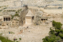 Kidron Valley or Kings Valley, Jerusalem. Kidron Valley or Kings Valley, Tomb of Zechariah near the Old City of Jerusalem Royalty Free Stock Photo