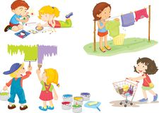 Kids. Illustration of kids on white Stock Photos