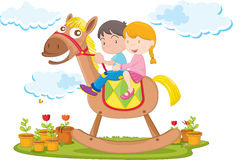 Kids. Illustration of kids riding on toy camel Royalty Free Stock Images