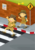 Kids. Illustration of kids crossing the road Royalty Free Stock Images