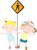 Kids. Illustration of kids near the signal Stock Photography