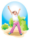 Kids. The happy girl with ice-cream in her hand - rejoices live Stock Image