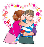 Kids. On the romantic Valenty's day we give a flowers and kisses Royalty Free Stock Images