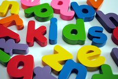 KIds. Children's letters spelling out kids Royalty Free Stock Photography