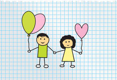 Kids. Boy and girl with balloons. Vector illustration Royalty Free Stock Photography