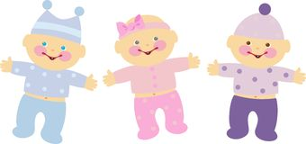 Kids. Funny baby boy and girl stock illustration