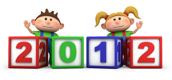 Kids with 2012 number blocks. Cute cartoon boy and girl with 2012 number blocks - high quality 3d illustration Stock Photo