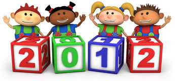 Kids with 2012 number blocks. Four cute multi-ethnic cartoon kids with 2012 number blocks - high quality 3d illustration Stock Photography