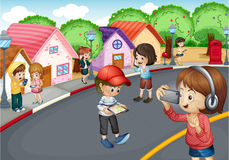 Kids. Illustration of kids using electronic gadgets Royalty Free Stock Images