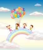 Kids. Illustration of a kids playing with balloons in the sky Stock Photography