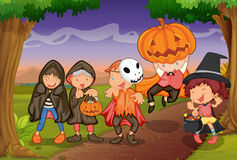 Kids. Illustration of kids in jungle playing scary game Royalty Free Stock Photos