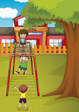 Kids. Illustration of kids playing game in a beautiful nature Royalty Free Stock Photography