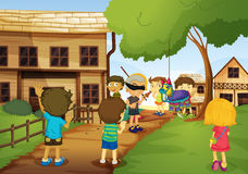 Kids. Illustration of kids playing games in nature Stock Photography