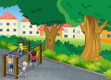 Kids. Illustration of kids playing game in a beautiful nature Royalty Free Stock Photos