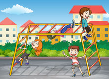 Kids. Illustration of kids playing game in a beautiful nature Royalty Free Stock Images