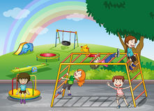 Kids. Illustration of kids playing game in a beautiful nature Stock Images