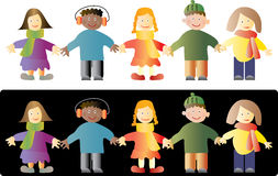Kids. Vector illustration of kids isolated on white and black royalty free illustration