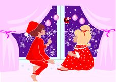 Kids. Siting on window for christmass royalty free illustration