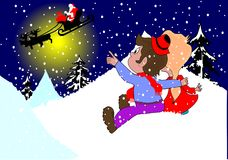 Kids. Sitting on the hill and lookind santa claus stock illustration