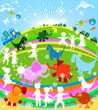 Kids. Cars and animals; happy world Royalty Free Stock Photography