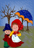 Kids. On the rain with umbrella royalty free illustration